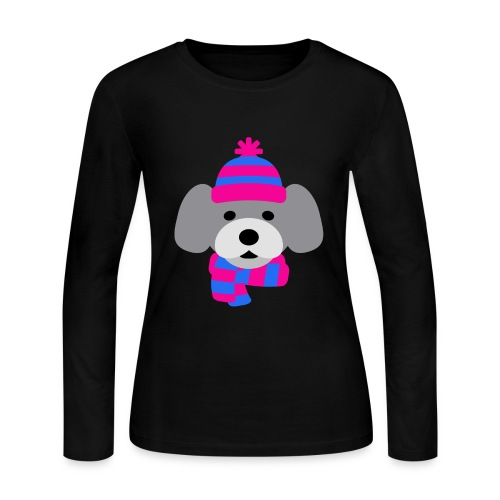 Cute Grey dog in pink and blue hat and scarf - Women's Long Sleeve Jersey T-Shirt