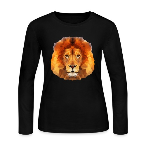 Low Poly Lion Face - Women's Long Sleeve Jersey T-Shirt