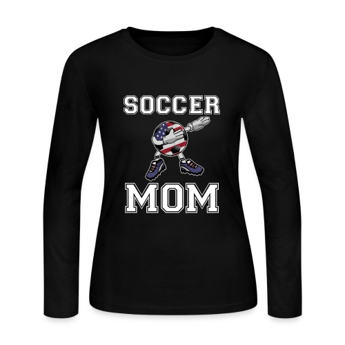 US Soccer Mom America Mother's Day Gift Dab Dance - Women's Long Sleeve Jersey T-Shirt