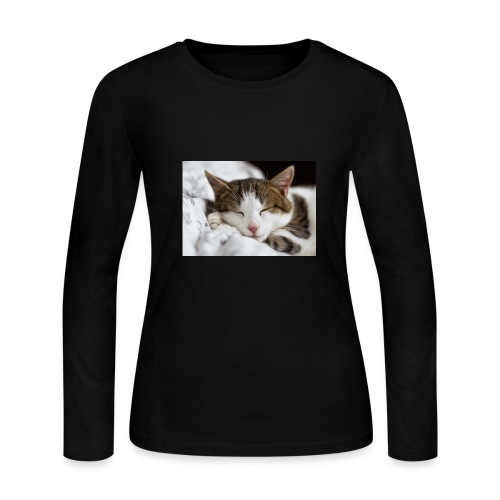 women's Cat T-shirt - Women's Long Sleeve Jersey T-Shirt