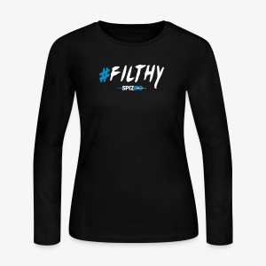 #Filthy Black - Spizoo Hashtags - Women's Long Sleeve Jersey T-Shirt