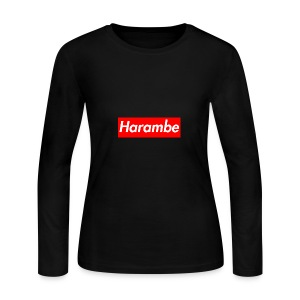 Harambe x Supreme Box Logo - Women's Long Sleeve Jersey T-Shirt
