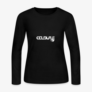 Coldwave Logo with (half) Vinyl - White - Women's Long Sleeve Jersey T-Shirt