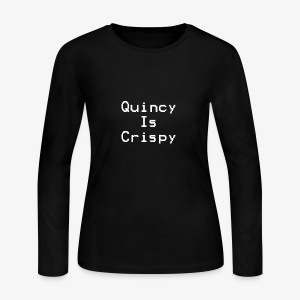 QuincyIsCrispy Text Logo (White) - Women's Long Sleeve Jersey T-Shirt