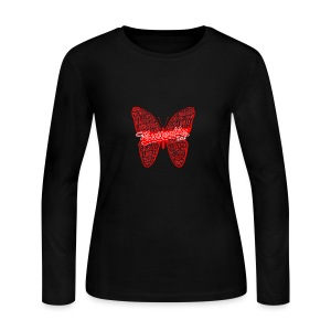 BUTTERFLY WORD RED - Women's Long Sleeve Jersey T-Shirt