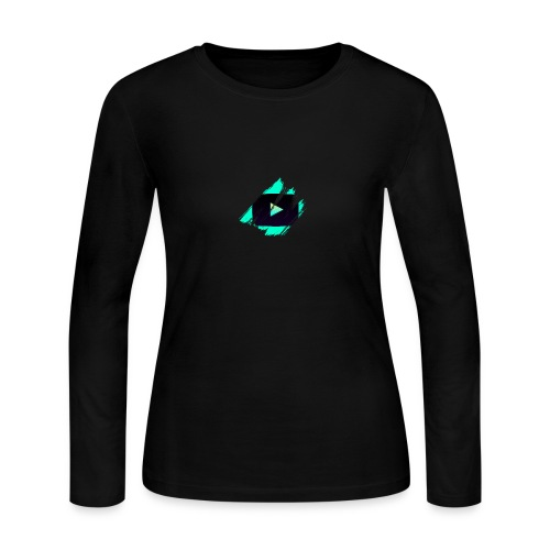 DRFT Clothing: Cyan Youtube is Life - Small Badge - Women's Long Sleeve Jersey T-Shirt