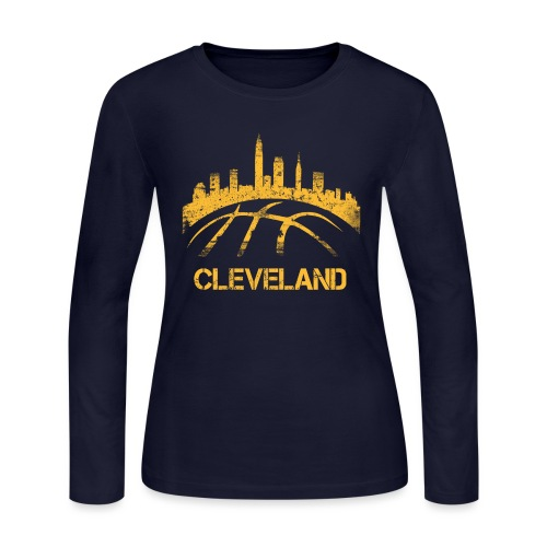 Cleveland Basketball Skyline - Women's Long Sleeve Jersey T-Shirt