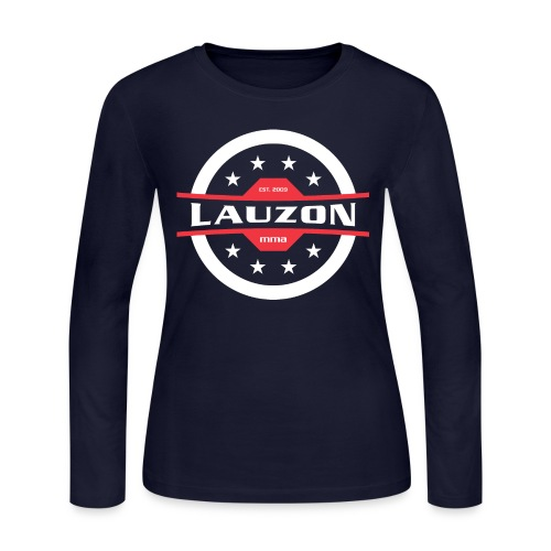 White on Black Lauzon MMA Logo w No Words - Women's Long Sleeve Jersey T-Shirt