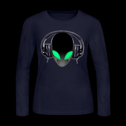 Alien Music Lover DJ (Simplified Fit All Design) - Women's Long Sleeve Jersey T-Shirt