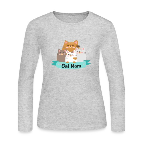 Cat MOM, Cat Mother, Cat Mum, Mother's Day - Women's Long Sleeve Jersey T-Shirt