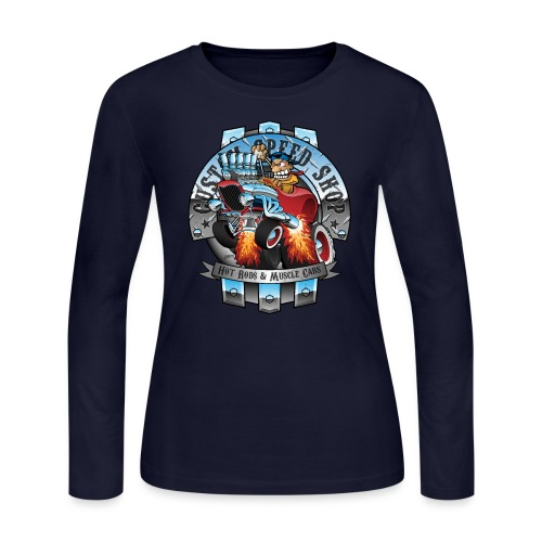 Custom Speed Shop Hot Rods and Muscle Cars Illustr - Women's Long Sleeve Jersey T-Shirt