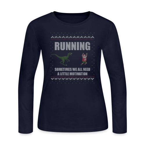 Ugly Christmas Sweater Running Dino and Santa - Women's Long Sleeve Jersey T-Shirt