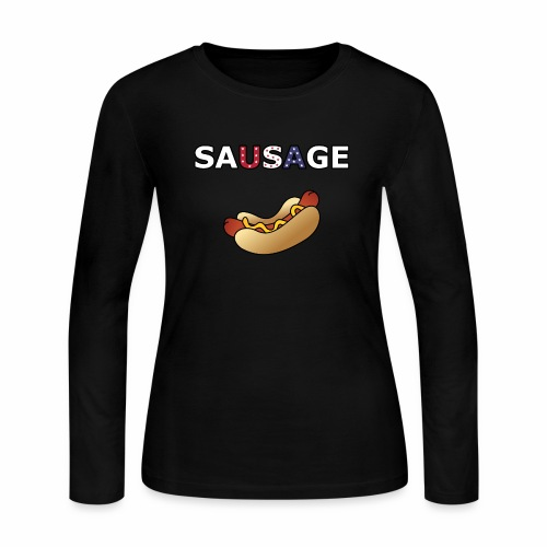 Patriotic BBQ Sausage - Women's Long Sleeve Jersey T-Shirt