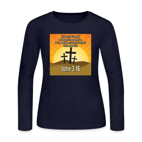John 3:16 - the most widely quoted Bible verses? - Women's Long Sleeve Jersey T-Shirt