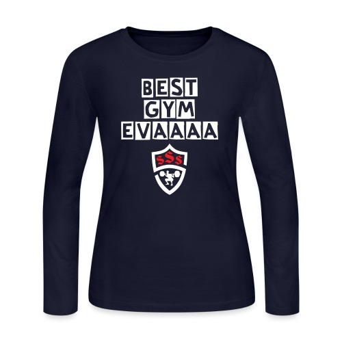 Best Gym Evaaa White and Red - Women's Long Sleeve Jersey T-Shirt