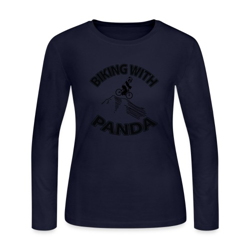 Biking with Panda - Women's Long Sleeve Jersey T-Shirt