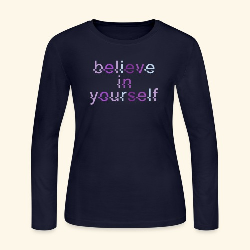 BELIEVE IN YOURSELF M PURPLE #4 - Women's Long Sleeve Jersey T-Shirt