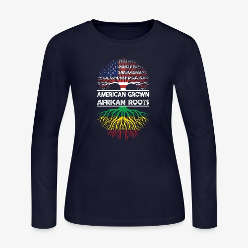 American Grown With African Roots T-Shirt - Women's Long Sleeve Jersey T-Shirt