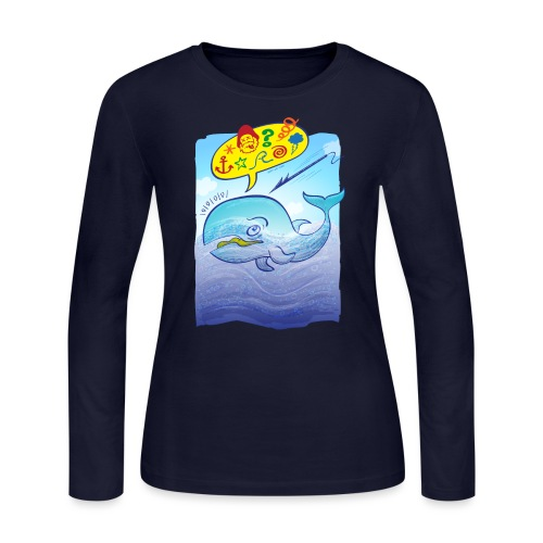 Menaced wild blue whale saying bad words - Women's Long Sleeve Jersey T-Shirt