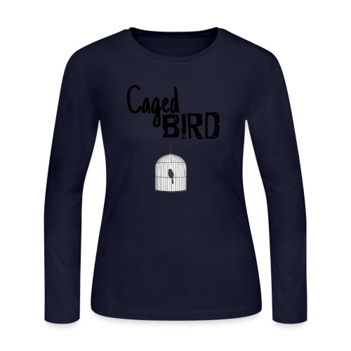 Caged Bird Abstract Design - Women's Long Sleeve Jersey T-Shirt