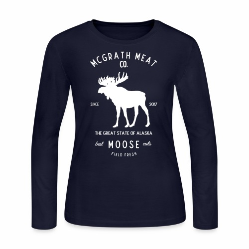 McGrath Meat Company White Stamp Logo - Women's Long Sleeve Jersey T-Shirt