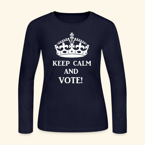 keep calm vote wht - Women's Long Sleeve Jersey T-Shirt