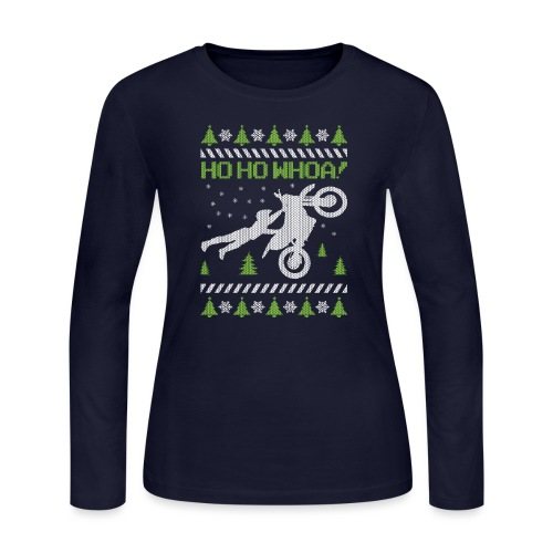 Motorcycle Ugly Christmas - Women's Long Sleeve Jersey T-Shirt