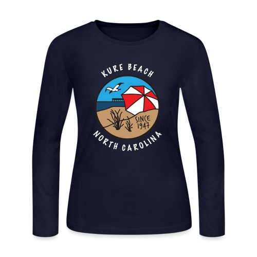 Kure Beach Day-White Lettering-Front Only - Women's Long Sleeve Jersey T-Shirt
