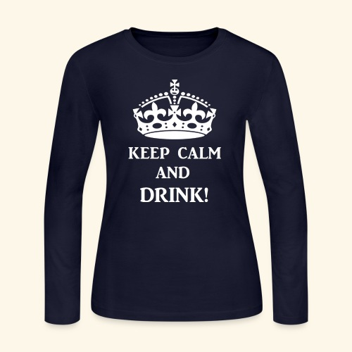 keep calm drink wht - Women's Long Sleeve Jersey T-Shirt