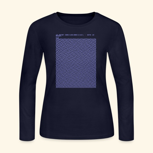 10 PRINT CHR$(205.5 RND(1)); : GOTO 10 - Women's Long Sleeve Jersey T-Shirt