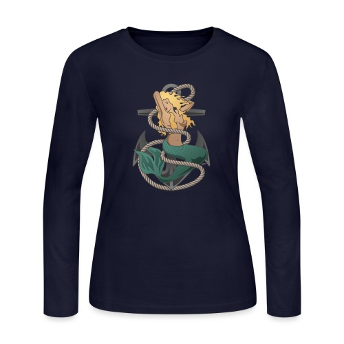 Mermaid with anchor and rope - Women's Long Sleeve Jersey T-Shirt