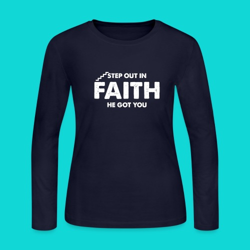Step Out In Faith - Women's Long Sleeve Jersey T-Shirt