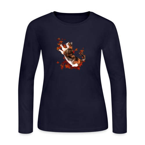 Autumn Cat - cat playing with autumn leaves - Women's Long Sleeve T-Shirt