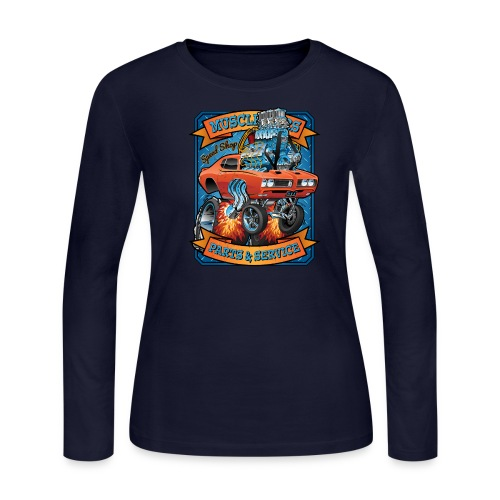 Classic Sixties Muscle Car Parts & Service Cartoon - Women's Long Sleeve Jersey T-Shirt