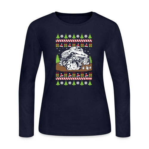 Mud Truck Ugly Christmas - Women's Long Sleeve Jersey T-Shirt