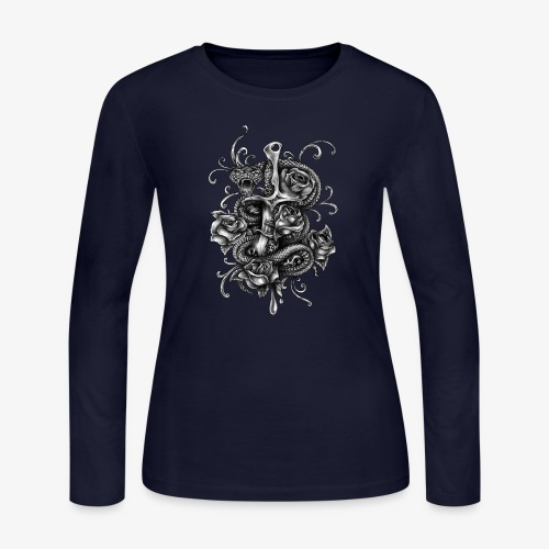 Dagger And Snake - Women's Long Sleeve Jersey T-Shirt