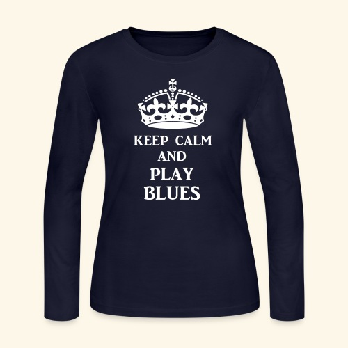 keep calm play blues wht - Women's Long Sleeve Jersey T-Shirt