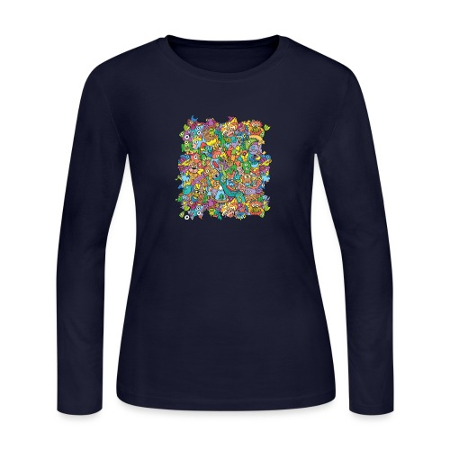 Crazy carnival full of color and cool characters - Women's Long Sleeve Jersey T-Shirt