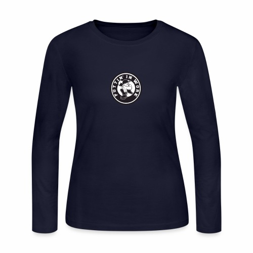 Solid Puttin' In Work Logo - Women's Long Sleeve Jersey T-Shirt