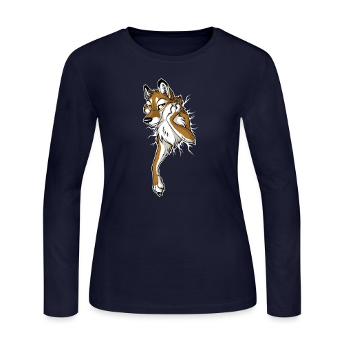 STUCK Wolf Caramel (double-sided) - Women's Long Sleeve Jersey T-Shirt