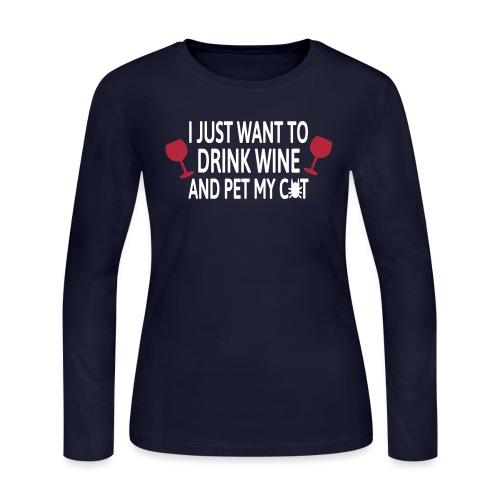 Drink wine and pet me cat - Women's Long Sleeve Jersey T-Shirt