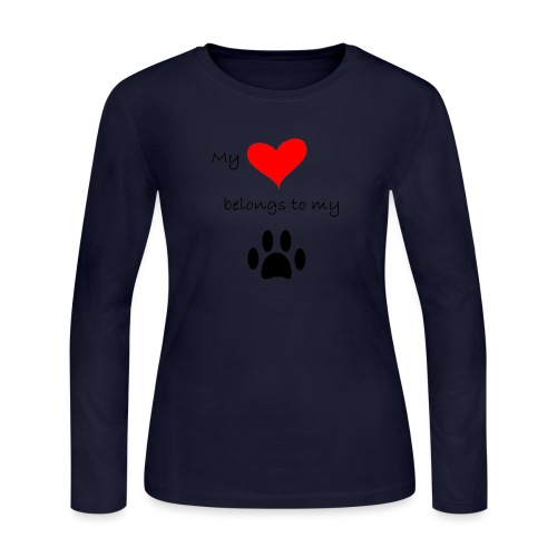 Dog Lovers shirt - My Heart Belongs to my Dog - Women's Long Sleeve Jersey T-Shirt