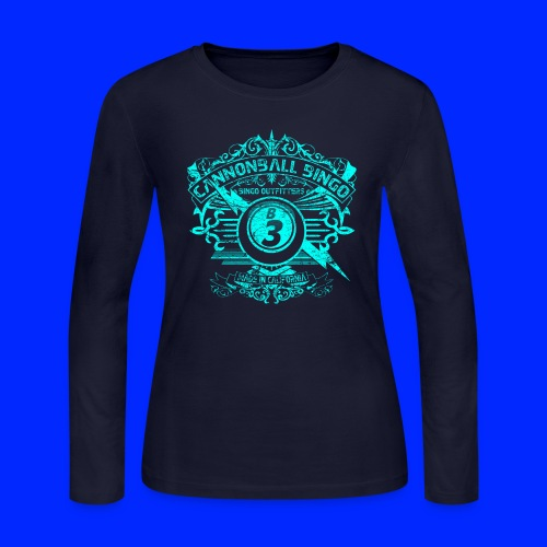 Vintage Cannonball Bingo Crest Bright Blue - Women's Long Sleeve Jersey T-Shirt