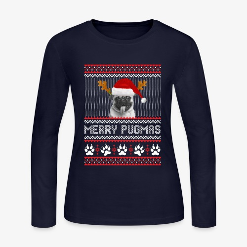 MERRY PUGMAS T-Shirt - Women's Long Sleeve Jersey T-Shirt