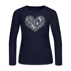 R+F White Heart - Women's Long Sleeve Jersey T-Shirt