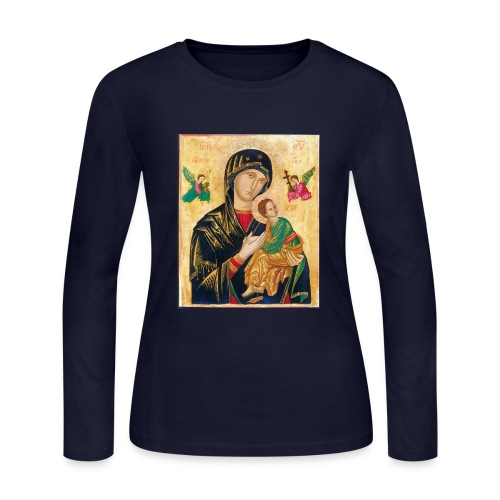 Icon of the Virgin Mary with baby Jesus - Women's Long Sleeve Jersey T-Shirt