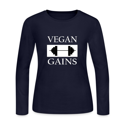 Vegan Gains white font - Women's Long Sleeve Jersey T-Shirt