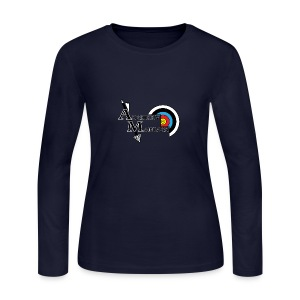 Archery Maniacs White Outline - Women's Long Sleeve Jersey T-Shirt