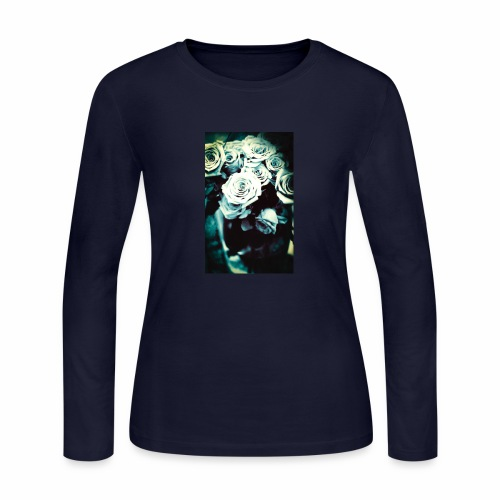 Black and White Roses - Women's Long Sleeve Jersey T-Shirt