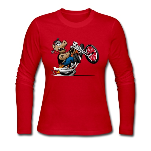 Biker Hog Motorcycle Cartoon - Women's Long Sleeve Jersey T-Shirt
